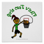 Dark Green Girls Basketball Print