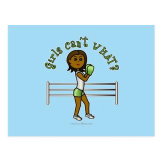 Dark Green Girls Boxing Postcard