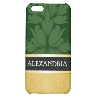 Dark Green Gold Personalized Damask iPhone 4 Case