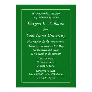 """Dark Green Graduation Invitations or Announcements 5"""" X 7"""" Invitation Card"""