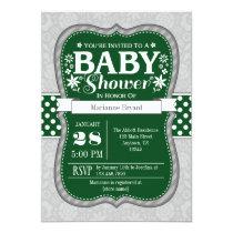 Dark Green Gray Floral Flower Baby Shower Invite