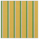 [ Thumbnail: Dark Green, Green, Grey & Goldenrod Lines Fabric ]