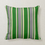 [ Thumbnail: Dark Green, Grey & Pale Goldenrod Colored Pattern Throw Pillow ]