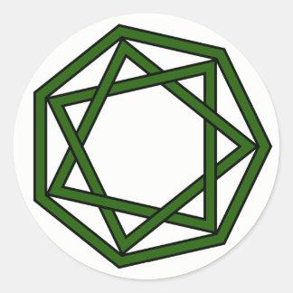 Dark Green Heptagram in Heptagon Classic Round Sticker
