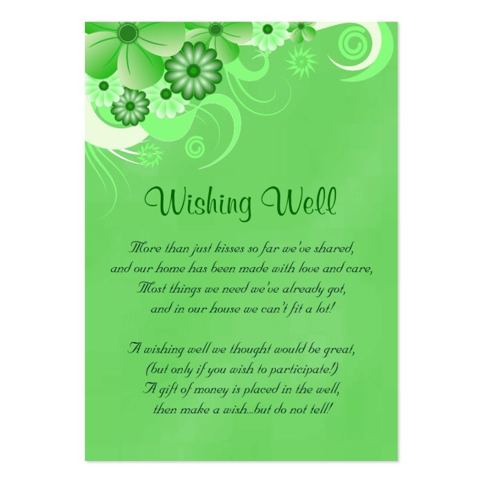Dark Green Hibiscus Wedding Wishing Well Cards