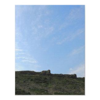 "Dark Green Hill Top and Blue Sky. 4.25"" X 5.5"" Invitation Card"