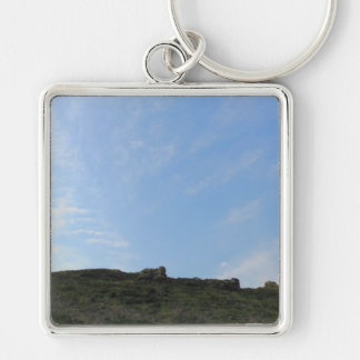 Dark Green Hill Top and Blue Sky. Keychain