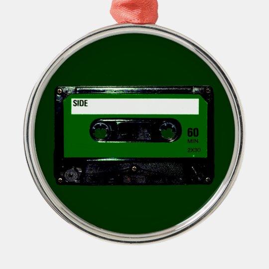 Dark Green Label Cassette Metal Ornament
