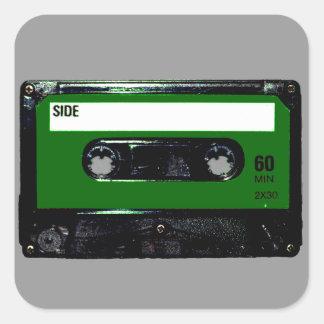 Dark Green Label Cassette Sticker