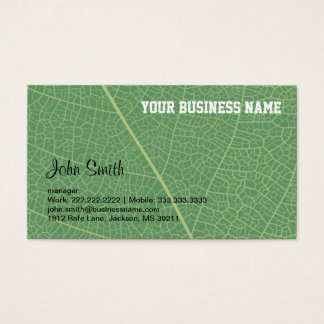Dark Green Leaf Veins business card