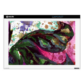 "dark green leaves 17"" laptop decal"