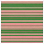 [ Thumbnail: Dark Green & Light Coral Colored Lines Fabric ]