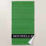 [ Thumbnail: Dark Green & Light Green Stripes/Lines Pattern Beach Towel ]