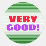 [ Thumbnail: Dark Green & Light Green Stripes/Lines Pattern Round Sticker ]