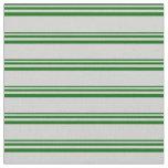 [ Thumbnail: Dark Green & Light Grey Striped Pattern Fabric ]