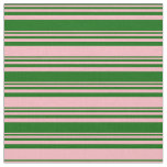 [ Thumbnail: Dark Green & Light Pink Colored Lined Pattern Fabric ]