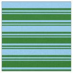 [ Thumbnail: Dark Green & Light Sky Blue Colored Stripes Fabric ]