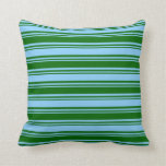 [ Thumbnail: Dark Green & Light Sky Blue Colored Stripes Pillow ]