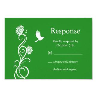 Dark Green Lotus Flower RSVP 3.5x5 Paper Invitation Card
