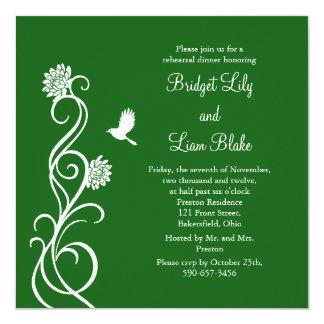 Dark Green Lotus Flowers Rehearsal Dinner Invitation