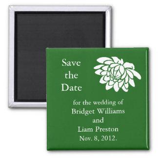 Dark Green Lotus Flowers Save the Date Magnet