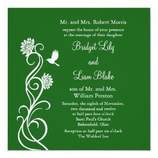 Dark Green Lotus Flowers Wedding Invitation