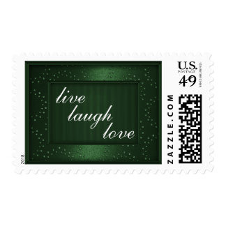 Dark Green Love Laugh Live or Your Text Stamps