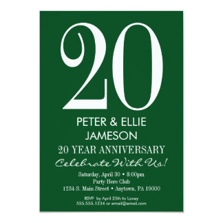 Dark Green Modern Simple Anniversary Invitations