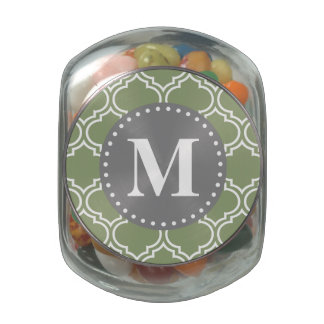 Dark Green Moroccan Lattice Pattern Monogram Glass Candy Jars