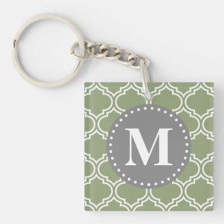Dark Green Moroccan Lattice Pattern Monogram Keychain