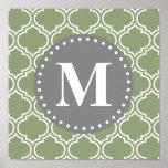 Dark Green Moroccan Lattice Pattern Monogram Poster