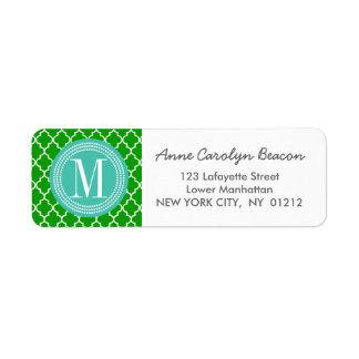 Dark Green Moroccan Tiles Lattice Personalized Label