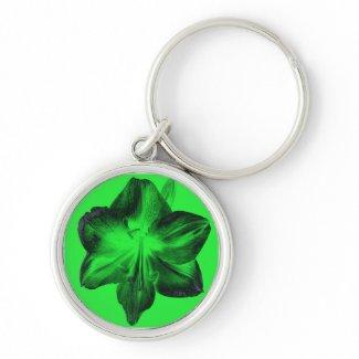 Dark Green on Light Green Amaryllis zazzle_keychain