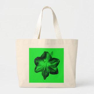 Dark Green on Light Green Amaryllis Large Tote Bag