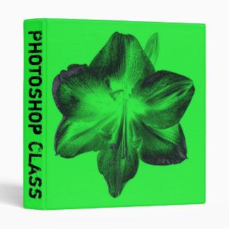 Dark Green on Light Green Amaryllis Vinyl Binder
