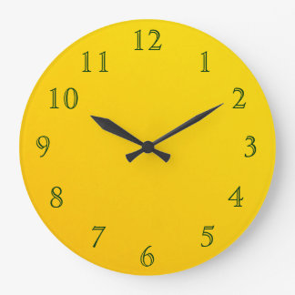 Dark Green on Yellow Wallclocks