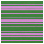 [ Thumbnail: Dark Green & Orchid Lined Pattern Fabric ]