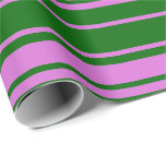 [ Thumbnail: Dark Green & Orchid Lined Pattern Wrapping Paper ]