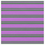 [ Thumbnail: Dark Green & Orchid Lined/Striped Pattern Fabric ]