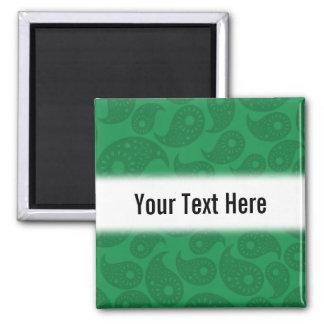 Dark Green Paisley Fridge Magnet