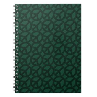 Dark Green Peace Sign Pattern Notebook
