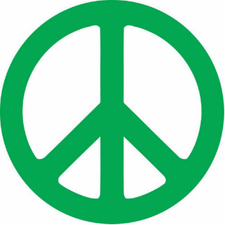 Dark Green Peace Symbol Sculpture Photo Cutouts