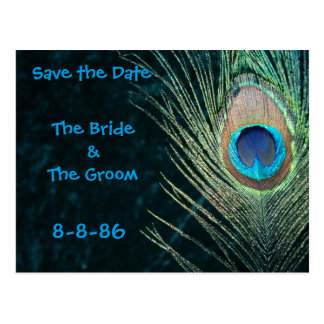 Dark Green Peacock Feathers Save the Date Postcard