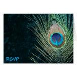 Dark Green Peacock Wedding RSVP Greeting Card