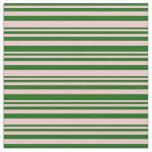 [ Thumbnail: Dark Green & Pink Lines Pattern Fabric ]