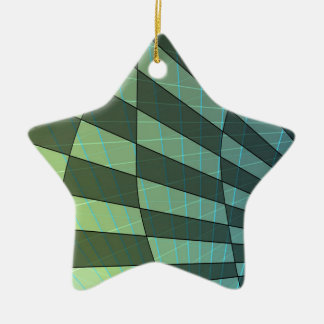 Dark Green Plaid Design with Linear Angles Ceramic Ornament