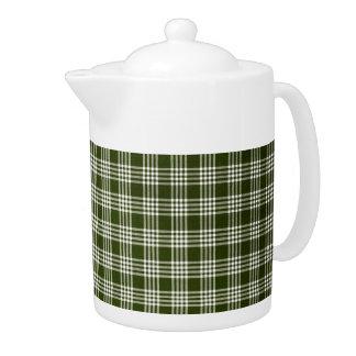Dark Green Plaid Teapot