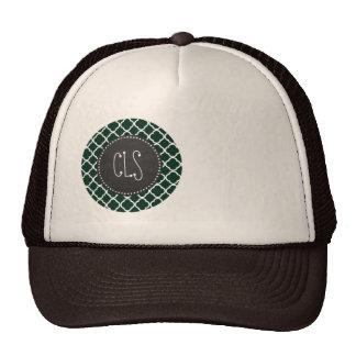 Dark Green Quatrefoil; Retro Chalkboard Mesh Hats