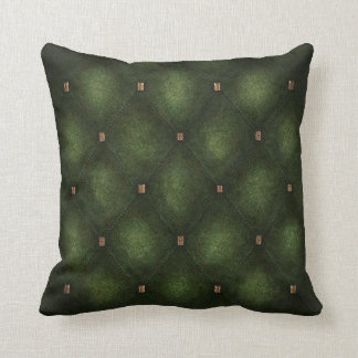 Dark Green Quilted Look Cushion Throw Pillow