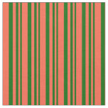 [ Thumbnail: Dark Green & Red Striped/Lined Pattern Fabric ]